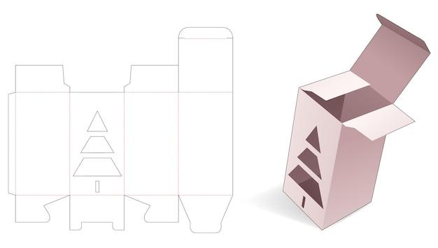 Boîte d'emballage avec gabarit de découpe d'arbre de noël au pochoir