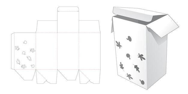 Boîte d'emballage avec gabarit de découpe d'automne au pochoir