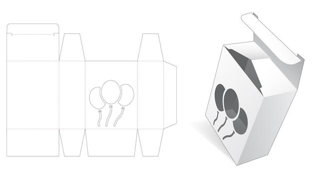 Boîte d'emballage avec gabarit de découpe de ballons au pochoir
