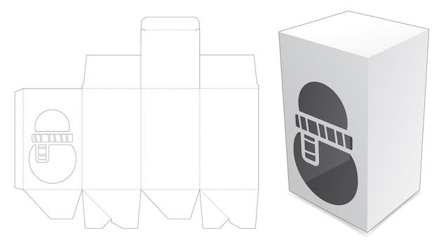 Boîte d'emballage avec gabarit de découpe de bonhomme de neige au pochoir
