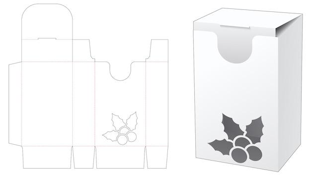 Boîte d'emballage avec gabarit de découpe de houx au pochoir