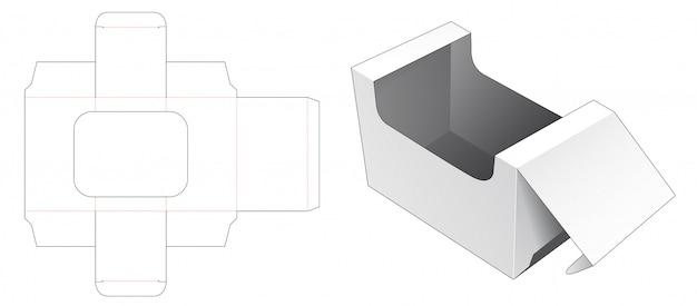 Boîte d'emballage avec gabarit découpé pour fenêtre d'affichage