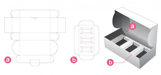 Boîte d'emballage avec gabarit prédécoupé de support d'insert rectangulaire