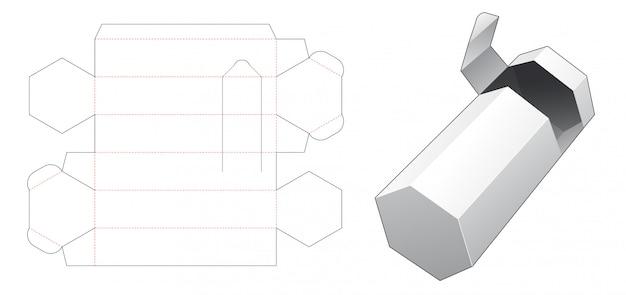 Boîte d'emballage hexagonale avec un modèle découpé avec fermeture éclair