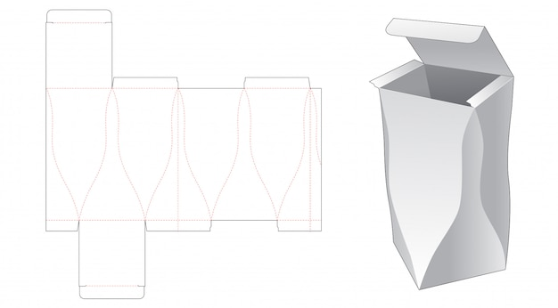 Boîte d'emballage latérale incurvée conception de modèle découpé