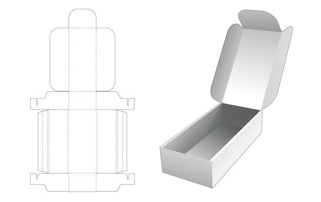 Boîte d'emballage longue avec gabarit de découpe à rabat supérieur