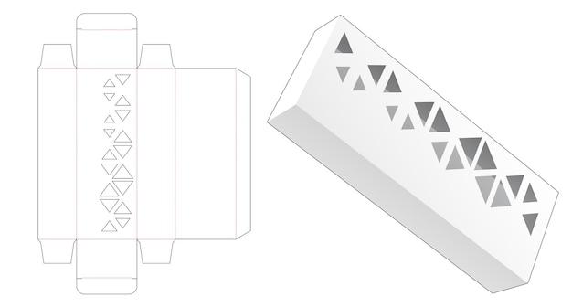 Boîte d'emballage longue avec gabarit de découpe triangulaire au pochoir