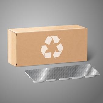 Boîte d'emballage de médicaments en papier kraft vierge réaliste