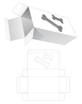 Boîte d'emballage avec modèle de découpe de fenêtre en forme d'os de chien