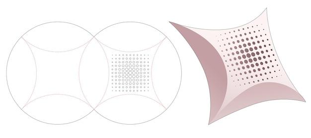Boîte d'emballage d'oreiller avec gabarit de découpe de points de demi-teintes au pochoir