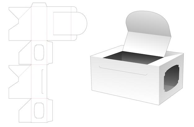 Boîte d'emballage ouverte en carton avec modèle de découpe de fenêtre latérale