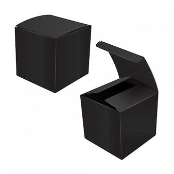 Boîte d'emballage en plastique en carton carré noir.
