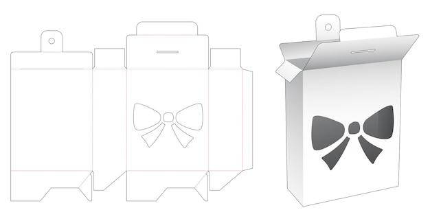 Boîte d'emballage avec pochoir d'arc et gabarit de découpe pour trou de suspension