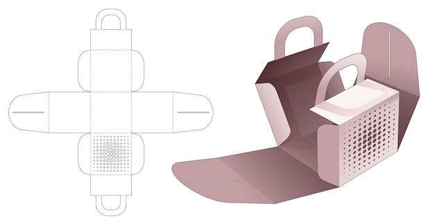 Boîte d'emballage de poignée avec gabarit de découpe de points de demi-teintes au pochoir