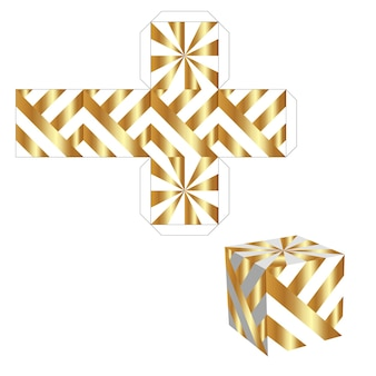 Boîte d'emballage pour votre entreprise. boîte en or avec motif découpé