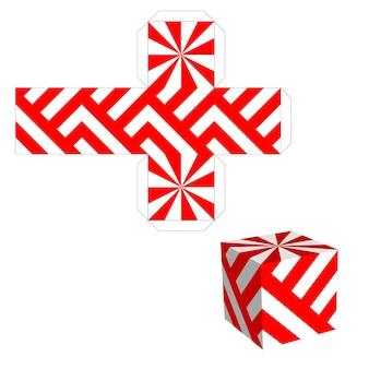 Boîte d'emballage pour votre entreprise. boîte rouge avec motif découpé