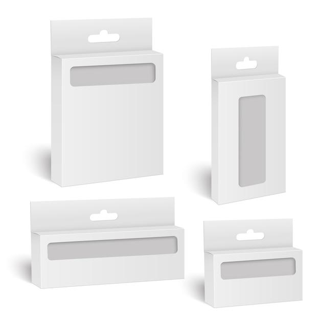 Boîte d'emballage de produit blanche avec fenêtre.