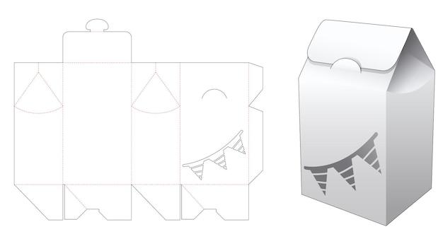 Boîte d'emballage à rabat avec gabarit découpé au pochoir