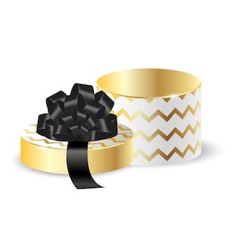 Boîte d'emballage ronde 3d blanche avec de l'or