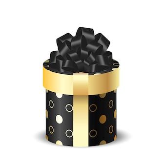 Boîte d'emballage ronde 3d noire avec de l'or