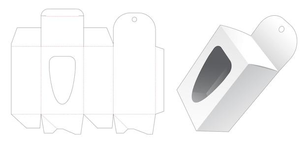 Boîte d'emballage suspendue avec gabarit de découpe de fenêtre