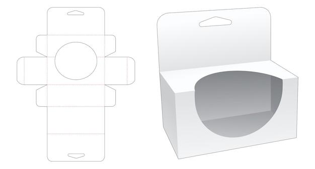 Boîte d'emballage suspendue avec un gabarit découpé à la forme d'une fenêtre en forme d'ellipse