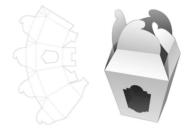 Boîte d'emballage de verrouillage de roue avec gabarit de découpe de fenêtre