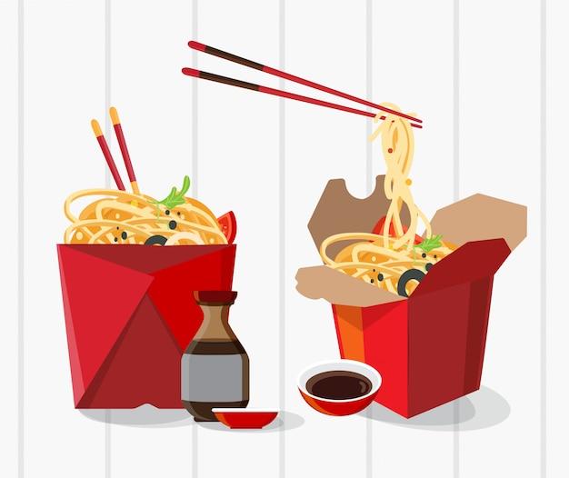 Boîte à emporter de nourriture chinoise, nouilles à emporter
