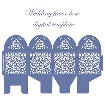 Boîte de faveur de mariage. bombonniere candy box gabarit découpé au laser avec motif en dentelle.