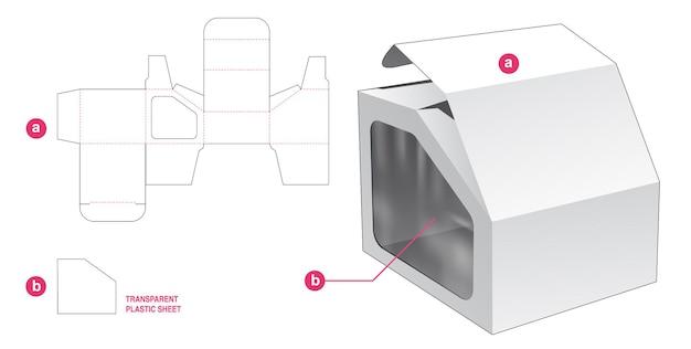 Boîte et fenêtre à angle rabattable avec gabarit de découpe en feuille de plastique transparent