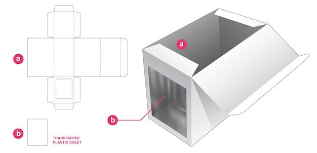 Boîte et fenêtre latérale avec gabarit de découpe en feuille de plastique transparent