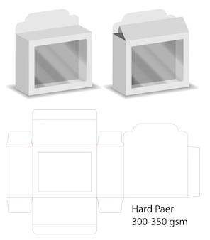 Boîte avec fenêtre en plastique découpé maquette vecteur de modèle.