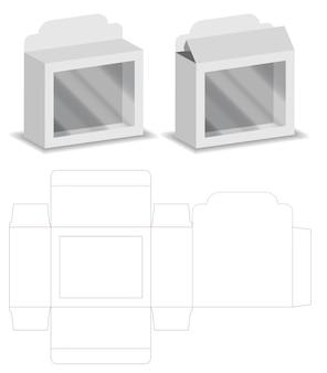 Boîte avec fenêtre en plastique découpé maquette vecteur de modèle