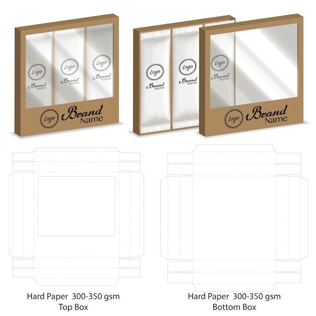 Boîte avec fenêtre en plastique die cut mock up template vecteur