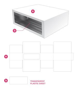 Boîte et fenêtre rectangulaire avec gabarit de découpe en feuille de plastique transparent