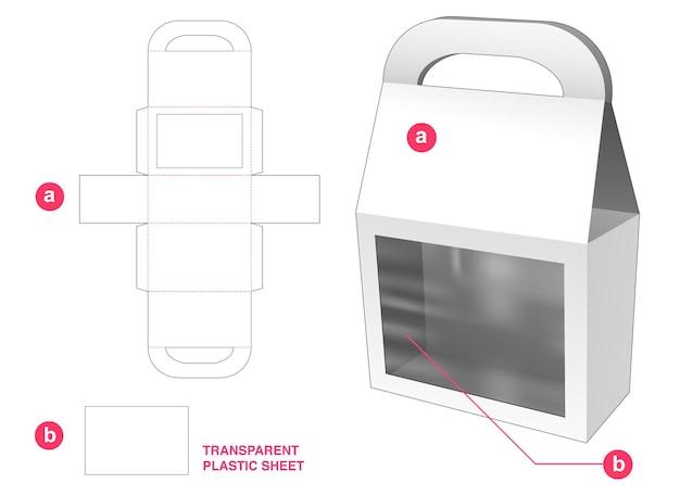 Boîte et fenêtre de sac hahdle avec gabarit de découpe en feuille de plastique transparent