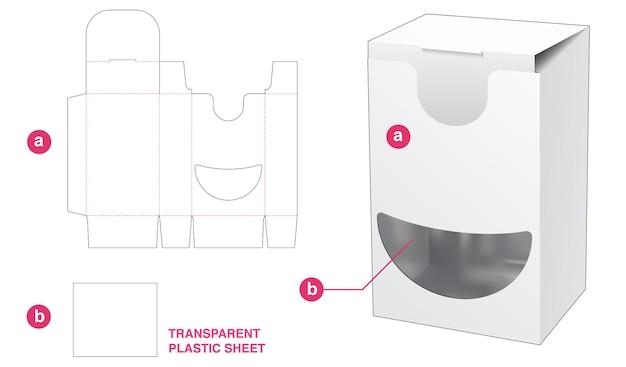 Boîte et fenêtre de sourire avec gabarit de découpe en feuille de plastique transparent