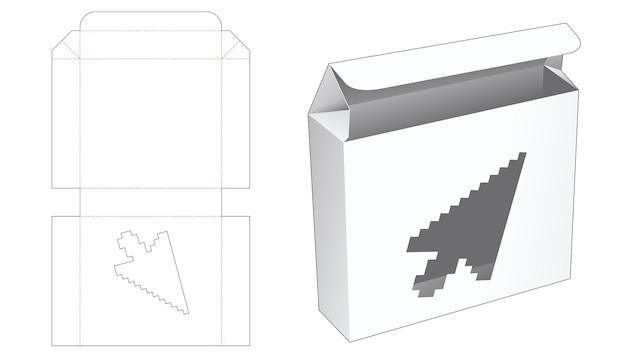 Boîte en fer blanc avec fenêtre en forme de flèche dans un modèle de découpe de style pixel art