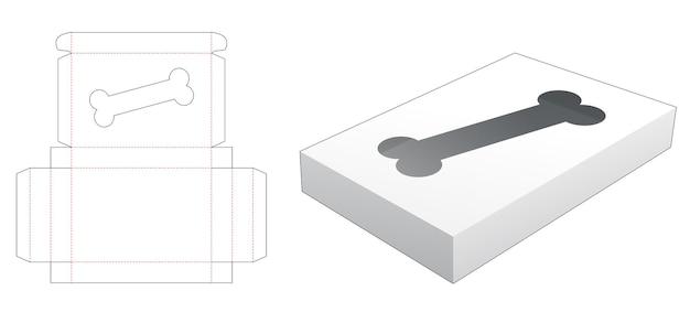 Boîte en fer blanc avec fenêtre en forme d'os de chien gabarit découpé