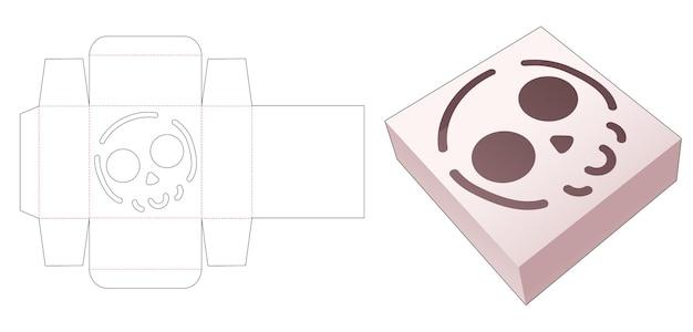 Boîte en fer blanc avec gabarit de découpe de crâne au pochoir