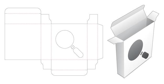 Boîte en fer blanc avec gabarit de découpe de fenêtre loupe