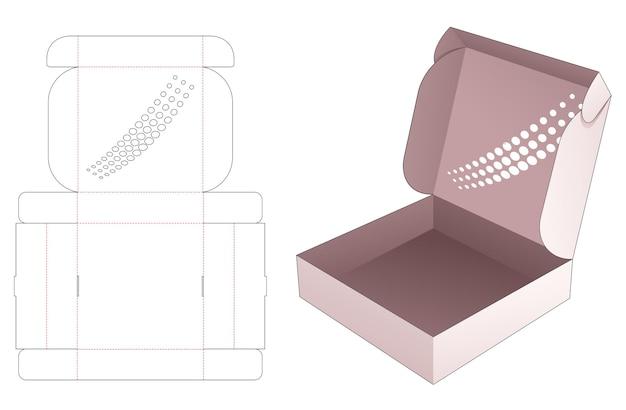 Boîte en fer blanc pliante avec gabarit de découpe de points de demi-teintes au pochoir