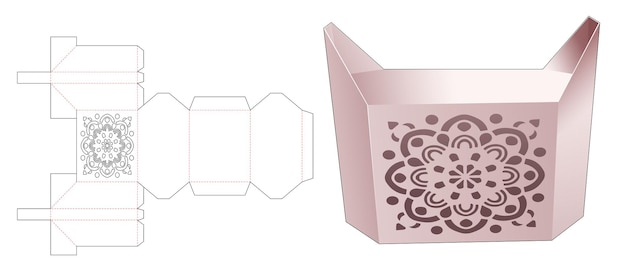 Boîte en forme de chat mignon avec modèle de découpe de mandala au pochoir