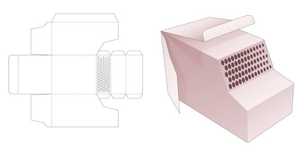 Boîte en forme de fourgon avec gabarit de découpe de points de demi-teintes au pochoir