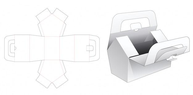 Boîte en forme de maison avec modèle de découpe