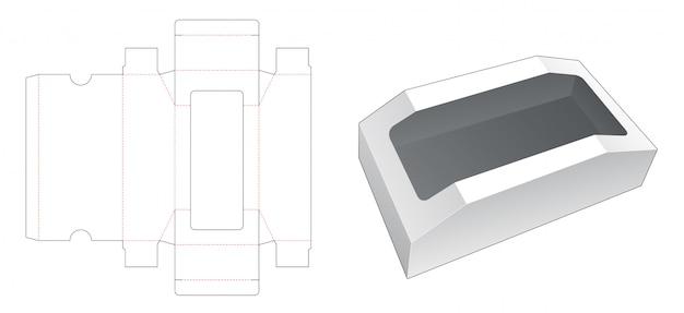 Boîte en forme de poitrine avec gabarit de découpe de fenêtre supérieure