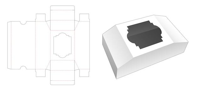 Boîte en forme de poitrine avec gabarit de découpe de fenêtre
