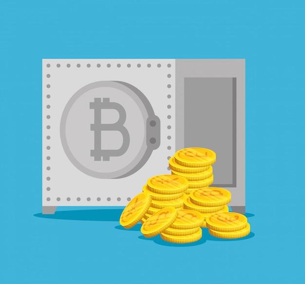 Boîte forte avec l'économie numérique bitcoin