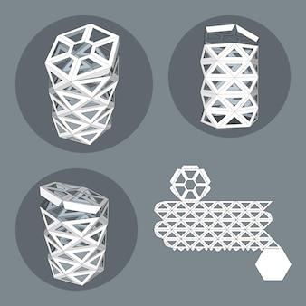 Boîte avec gabarit découpé. boîte d'emballage pour aliments, cadeaux ou autres produits. sur fond blanc isolé. prêt pour votre conception. produit d'emballage vecteur eps10.