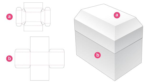 Boîte avec gabarit de découpe de couvercle en forme de coffre